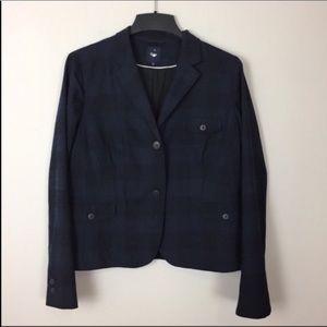 GAP Blue & Black Buffalo Plaid Wool Blazer